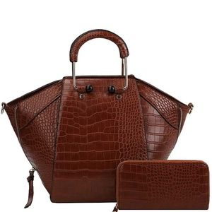 Republic Classic Bags Bags - STYLISH CROCO TEXTURED SATCHEL W/MATCHING WALLET